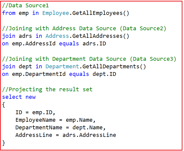 Joining three Data Sources using Query Syntax in Linq
