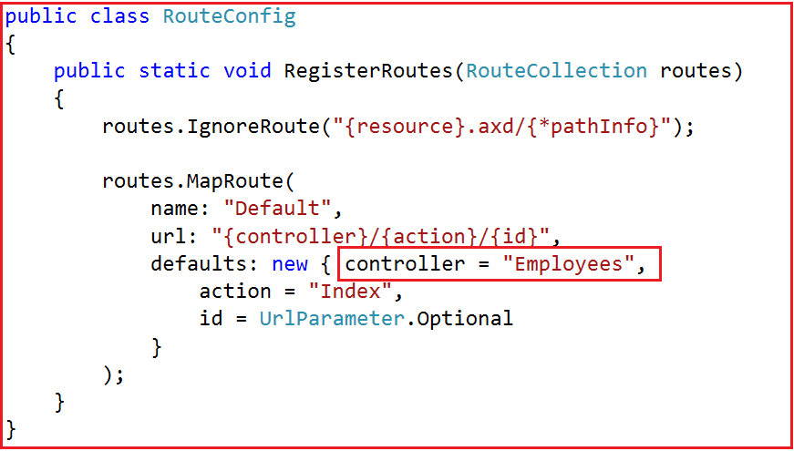 Modifying the RouteConfig class For Forms Authentication in MVC