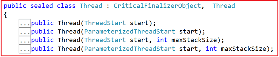 Constructors of Thread Class in C#