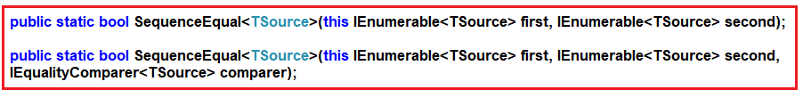 SequenceEqual Method in Linq