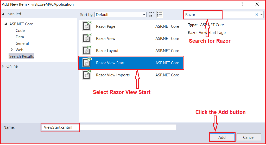How to create _ViewStart.cshtml file in ASP.NET Core MVC Application?