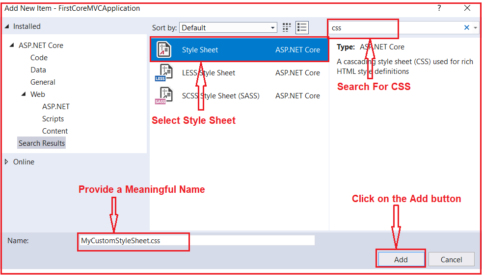 Creating a Custom Style Sheet in ASP.NET Core MVC Application