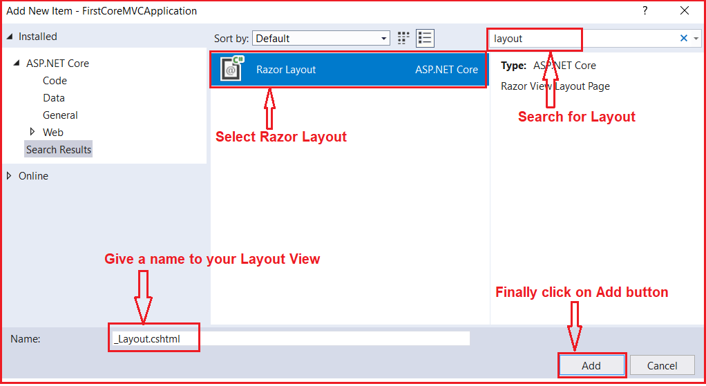 How to Create a Layout View in ASP.NET Core MVC Application