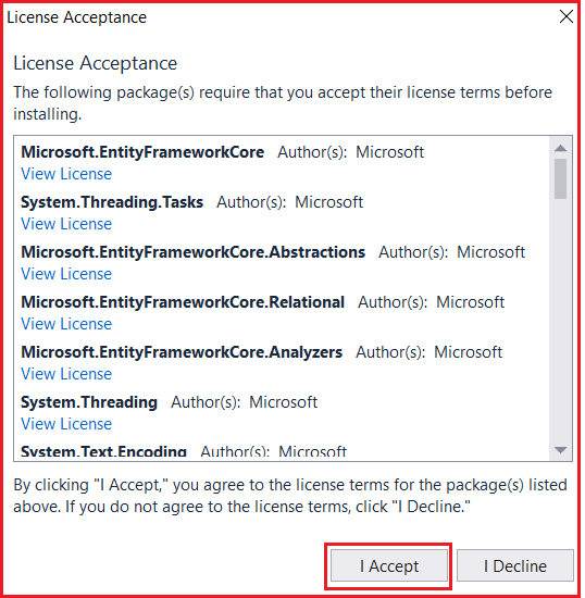 Accepting Terms in Entity Framework Core