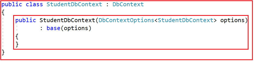 DbContextOptions class in Entity Framework Core