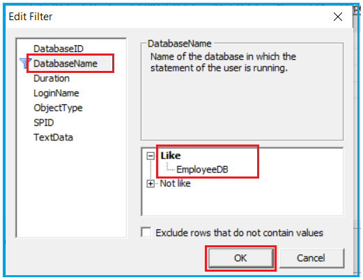 Applying Filter in SQL Server Profiler