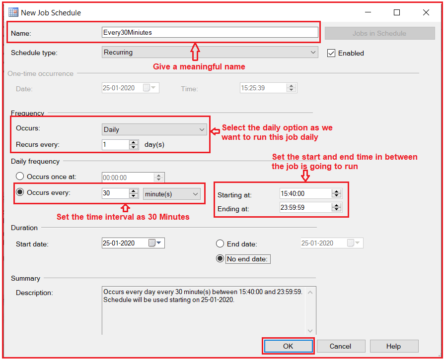 Scheduling the Job in SQL Server using SQL Server Agent
