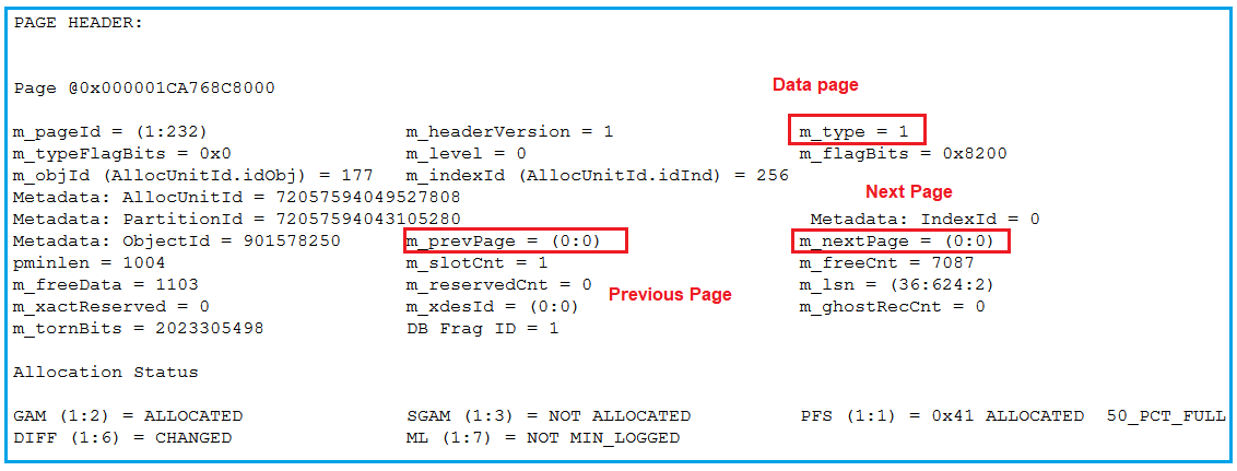 Page Header in SQL Server Data Page