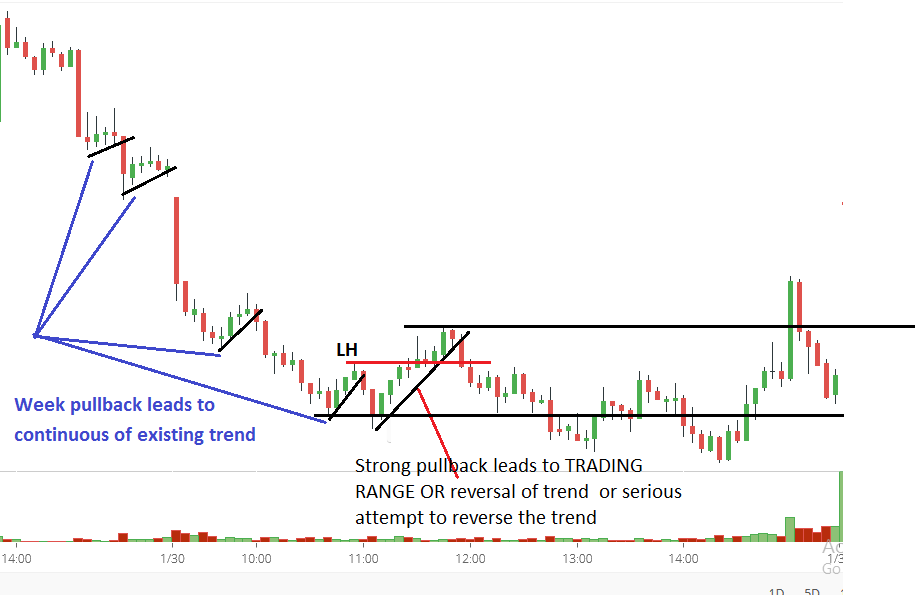 Strong pullback leads to TRADING RANGE OR reversal of trend or serious attempt to reverse the trend
