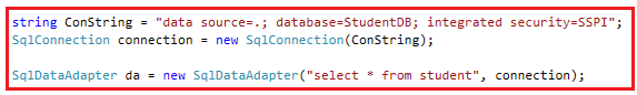 How to create instance of SqlDataAdapter class in ADO.NET?
