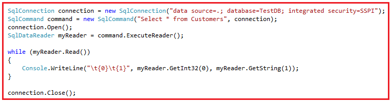 ADO.NET code to connect to SQL Server Database
