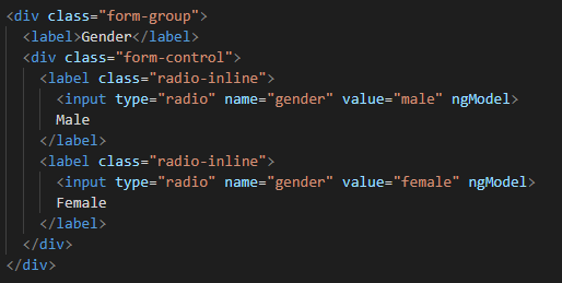 How to create radio button in angular template driven forms?