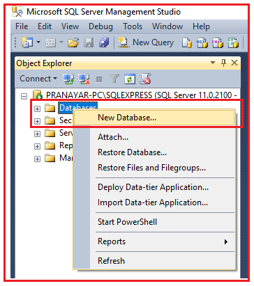 Creating Database in SQL Server