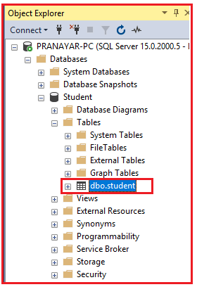 Establish connection to SQL Server and create a table using ado.net