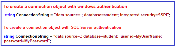 Using the SqlConnection object