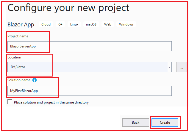 Configure Blazor Project in Visual studio 2019