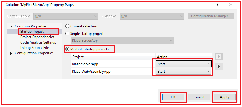 Running Multiple Project in Visual Studio