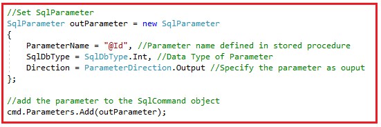 How to call a stored procedure with both input and output parameter in C#?