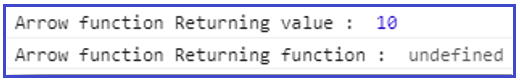 JavaScript empty Arrow function and Returning value example