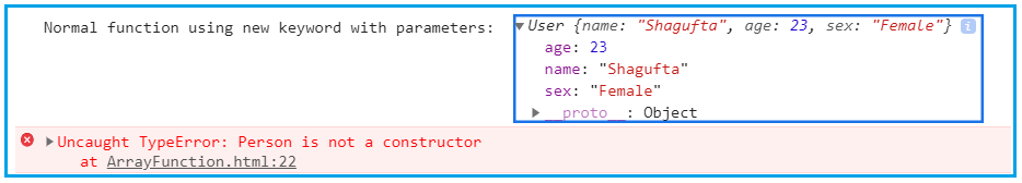 JavaScript Arrow function with new keyword and parameter example