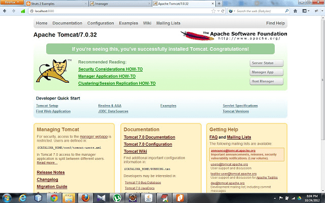 Setup apache Tomcat to develop Struts 2 application