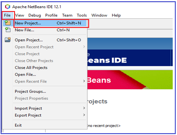 Create New Project using NetBeans IDE
