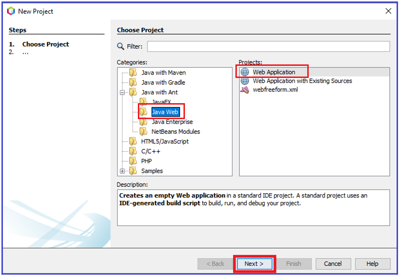 Create New JSP Project using NetBeans IDE