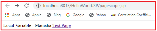 Page Scope Example in JSP