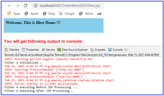 Filter Example in JSP