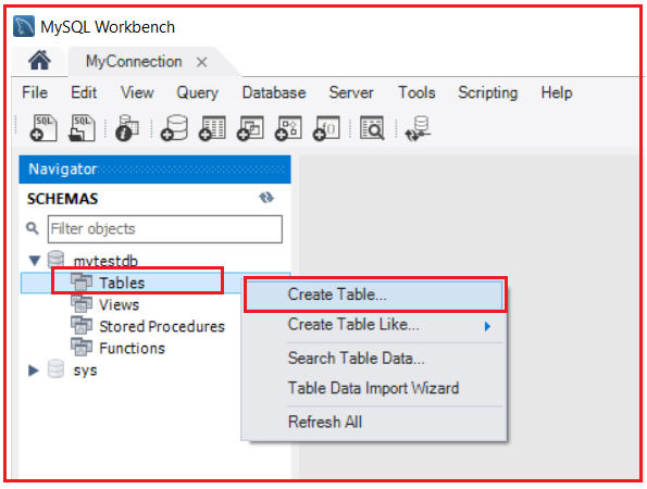 How to Create Alter and Drop Database table using MySQL Workbench?