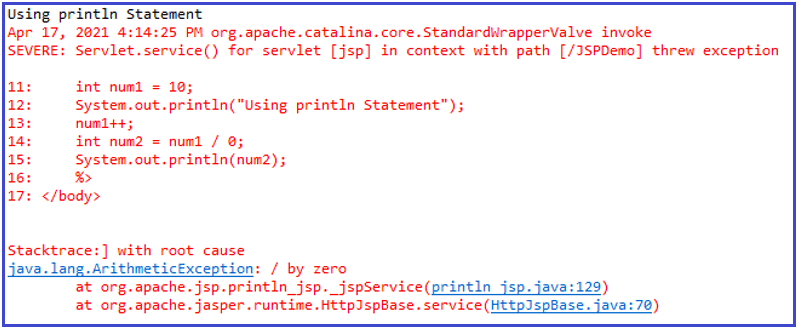 JSP Debugging Using println statements