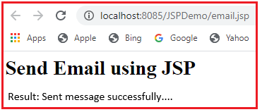 Sending Email in JSP Application
