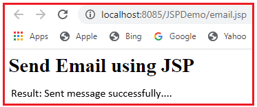 Sending Email with attachment in JSP