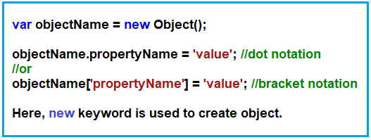 Using new Object() method /By creating instance of Object