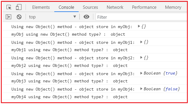 Objects creation in JavaScript using new Object() method
