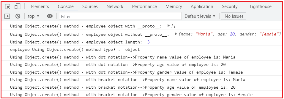 Object's creation in JavaScript, by Using Object.create() method with null prototype