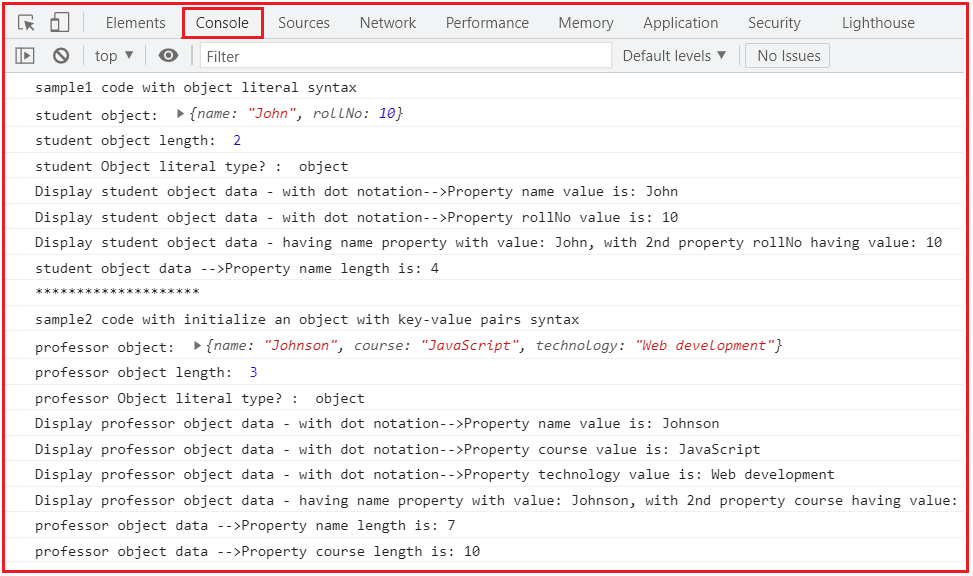 Access the Properties by dot operator/ dot notation (.)