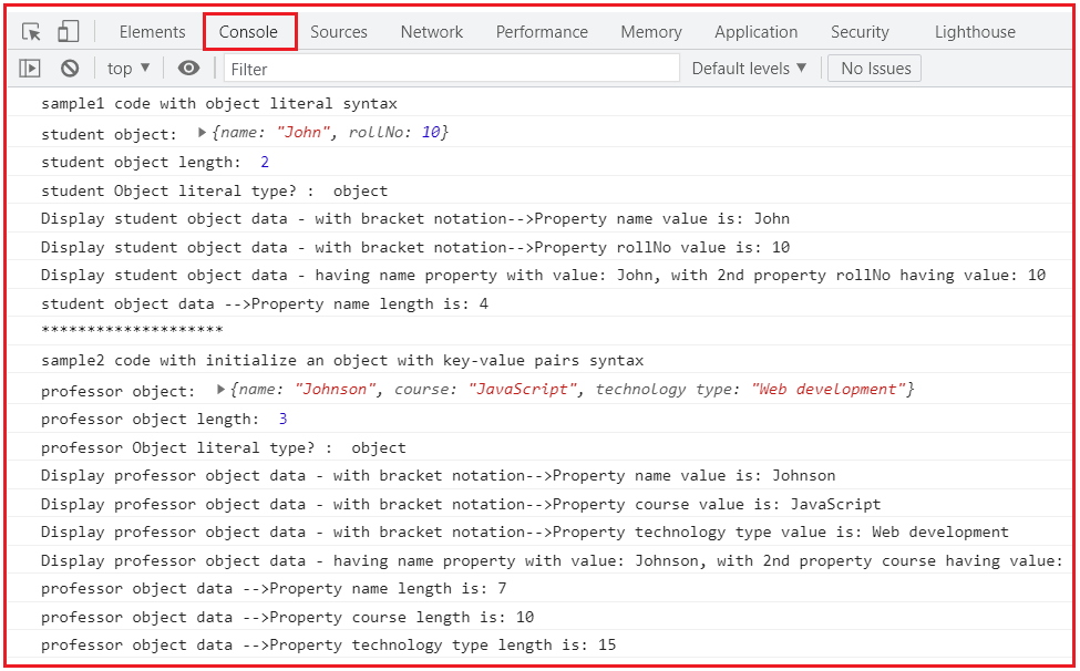 Access the Properties by Square brackets/ bracket notation/ Array-like notation ([])
