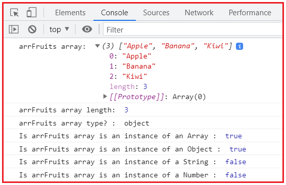 JavaScript Objects, instanceof() method to check the type of an array