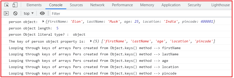 Using Object.keys() method to find the length of a JavaScript Object